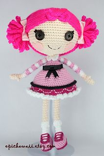 This crochet pattern makes a soft, cuddly doll about 13 inches (33 cm) tall. The dress and shoes are not removable.