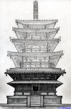 how to draw a pagoda, japanese pagoda step 18