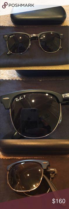 237209cabeaa4 Ray ban polarized foldable black clubmasters Ray ban polarized black  clubmaster sunglasses. Foldable. Come