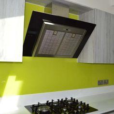 Lime Green Kitchen Splashback by CreoGlass Design (London,UK). View more toughened glass splahback designs and non-scratch worktops on www.creoglass.co.uk #kitchen #backsplashk