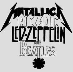 metallica, ac/dc, led zepplinz the beatles, rock, black and white