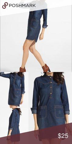"Denim Shift Dress Lightweight denim dress with pockets and snap closure. 3/4"" sleeves. Slight high-low hem. Marked as L but fits a S. Measurements: sleeve 22"", shoulder 15"", hip 39"", bust 38"", length 37-39"". Brand new. Never worn. Boutique Dresses"