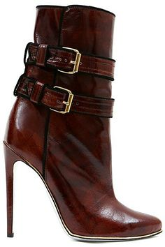 b4fa187f011a Balmain - Accessories - 2013 Pre-Fall high heel ankle booties boots in brown  leather with buckles
