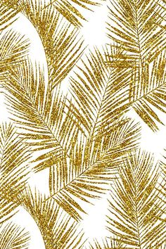 Colorful fabrics digitally printed by Spoonflower - gold glitter palm leaves - white, small. silhuettes faux gold imitation tropical forest white background hot summer palm plant leaves shimmering metal effect texture fabric wallpaper giftwrap White And Gold Wallpaper, Glitter Wallpaper, Fabric Wallpaper, White Background Wallpaper, Cute Backgrounds, Cute Wallpapers, Wallpaper Backgrounds, Pink Glitter Background, Textured Background