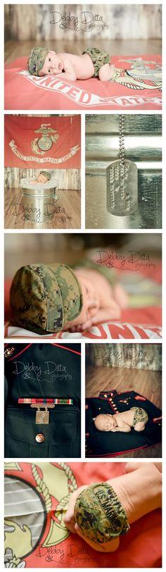 Debby Ditta Photography: Newborn baby B baby Marine by Tomball Texas photographer.  Marines, dogtag, flag, uniform