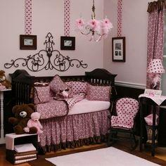 Baby Girl Nursery in Pink & Chocolate... Sooooo cute but I think I want another boy....