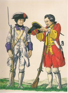 Compañias sueltas de la ciudad de Lima 1776. Reconstrucción en base a la descripción del Virrey Amat, en su Relación de Gobierno Izquierda: Compañias del Rey, creadas en 1769. Donde se alistaban los sastres. El color morado los ponía a la altura del Rgto. de línea lnmemorial del Rey. Tenía 240 plazas al final de siglo Derecha: Compañias de Estudiantes. Creadas en 1771 y suprimidas en 1779 Poco frecuente el color encarnado en unidades españolas, a excepción del Rgto. de la Reina o los…