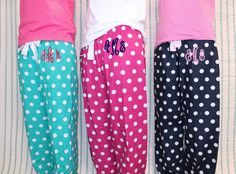 Monogram PJ Pants Polka Dot Flannel - Womens & Girls Sizes. $30.00, via Etsy. These would be so cute for E.