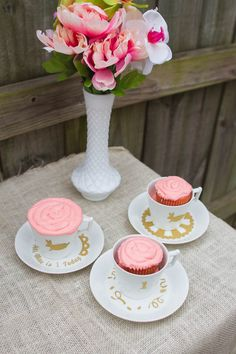 Personalized birthday party tea cups and saucers using Silhouette Cutting Machine and Adhesive Vinyl