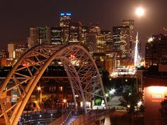Denver Skyline at Night From the Millenium Pedestrian Bridge by JoeInSouthernCA, via Flickr