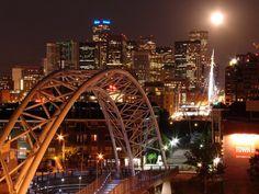 Denver Skyline at Night From the Millenium Pedestrian Bridge by JoeInSouthernCA, via Flickr