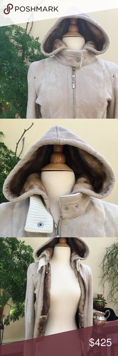 Gianni Pelle Shearling Jacket - size small Euro size 36 or US size small Detachable hood Super soft shimmery suede on the outside Real fur inside Small pocket in each side Made in Europe  Received this as a gift so I don't have much information about the jacket or company. It is 100% real fur/leather. Has a few small marks that are barely noticeable. Also the glue on the zipper for the hood has darkened a bit but isn't visible. Refer to pictures.   Feel free to ask any questions Gianni Pelle…