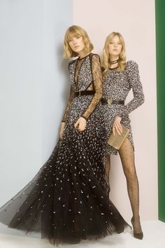 Elie Saab Pre Fall 2017: Sequins galore! The sequin gown with the tulle and sheer cutouts is fabulous! The sequin mini dress with the dramatic shoulders is very glam!