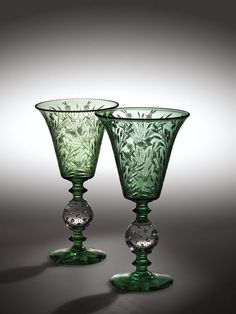 "treasures-and-beauty:  ""Pair of Green Vases, 1920-1930, Pairpoint Corporation, Massachussets  """