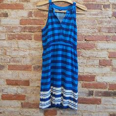 Cute Old Navy dress! Only worn a couple of times! Silky blue striped dress from Old Navy. Am happy to consider offers and/or bundle items; thanks for looking! Old Navy Dresses