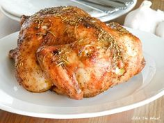 Simple, roasted Cornish Hen. rubbed it in butter with a splash of lemon juices, seasoned with garlic salt, pepper, and paprika, and popped it in the oven