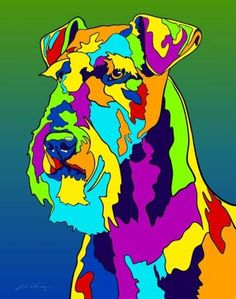 Multi-Color Airedale Terrier Dog Breed Matted Prints & Canvas Giclées - MULTI-COLOR DOG PRINTS