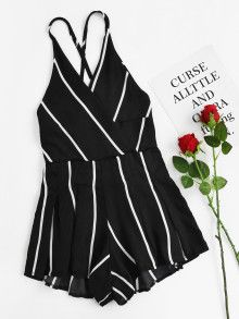 Stripe Surplice Criss Cross Open Back Romper