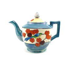 Shabby Japanese teapot - blue orange white vintage tea pot.  via Etsy.