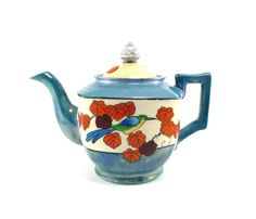 Shabby Japanese teapot - blue orange white vintage tea pot.  via Etsy.