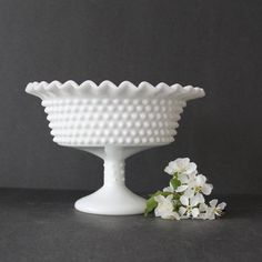 Vintage LE Smith milk glass Hobnail Compote by Hallingtons on Etsy