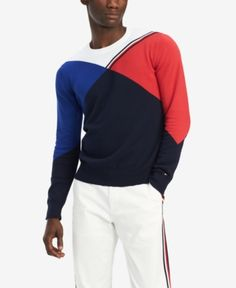 Tommy Hilfiger Men's Bobby Sweatshirt, Created for Macy's - White XL Sueter Tommy Hilfiger, Mens Sweatshirts, Hoodies, Tommy Hilfiger Sweatshirt, Michael Kors Men, Plus Size Activewear, Red Sweaters, Dresses With Leggings, Calvin Klein Jeans