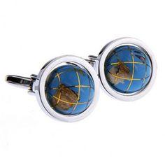#Blue #globe #cufflinks #cufflinkspalace