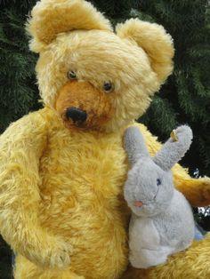 "MARVELOUS ANTIQUE DIEM TEDDY BEAR 40s LONG MOHAIR VOICE 23.6"" & STEIFF RABBIT"