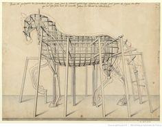 Veue en perspective de l'armature de fer faite dans le cheval qu'on doit fondre de bronze pour porter la figure du Roy qui doit estre posée dans la nouvelle place Vendosme : [dessin]