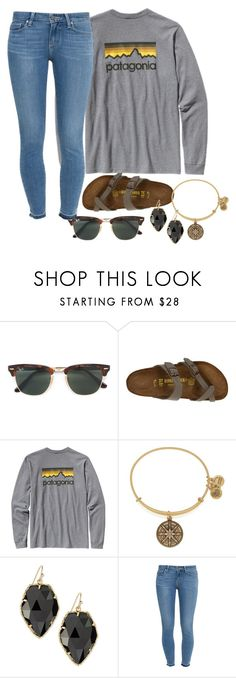 """Untitled #729"" by southernstruttin ❤ liked on Polyvore featuring Ray-Ban, Birkenstock, Patagonia, Alex and Ani, Kendra Scott and Paige Denim"