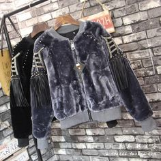 2016 Winter Women's Long Sleeved Thick Plush Loose Fit Bomber Jacket with Rivets and Tassels