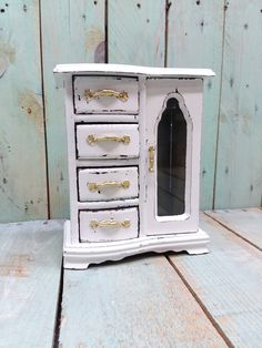 Small Rare Shabby Chic Vintage Rustic Wooden Jewelry Box Armoire Painted  Antique White Distressed Upcycled Refurbished