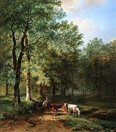 Barend Cornelis Koekkoek - Boslandschap met reizigers op een zonovergoten pad 1830