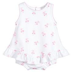 Kissy Kissy Baby Girls White & Pink Pima Cotton Shortie at Childrensalon.com