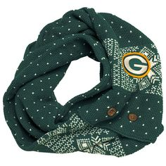 Acrylic patterned scarf can be buttoned into an infinity scarf. Embroidered felt logo. Packers Gear, Packers Baby, Go Packers, Packers Football, Football Baby, Football Season, Bulldogs Football, Greenbay Packers, Football Memes