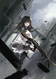 Not sure what this anime this is.but the artwork is amazing anime: Madoka Magica: Rebellion (movie)- a sequel to the Madoka Magica series. Fille Anime Cool, Cool Anime Girl, I Love Anime, Anime Art Girl, Awesome Anime, Anime Girls, Fan Art Anime, Anime Artwork, Madoka Magica