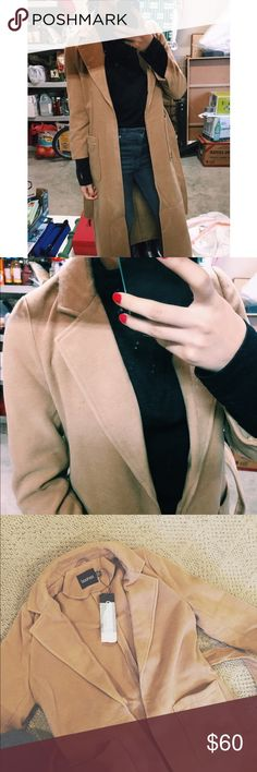 Long wool camel coat Extra pictures for my listing! Bought from asos NWT never worn! ASOS Jackets & Coats Trench Coats