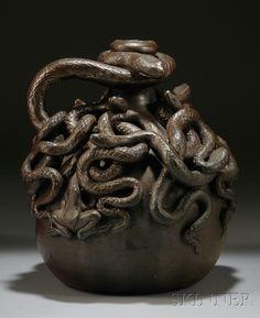 Anna Pottery Stoneware Centennial Snake Jug. Beautiful.