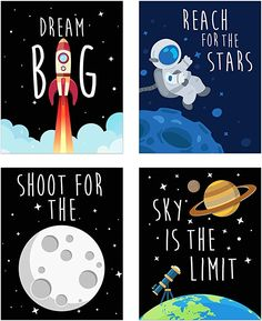 Space Kids Nursery Bedroom Decor - Set of Four Prints - Cute Inspirational Wall Art Decoration for Boys and Girls