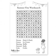FREE download activity sheet - Summer Fete Wordsearch
