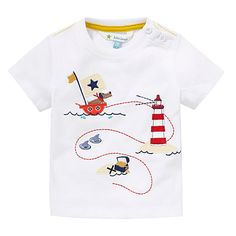 Buy John Lewis Puppy Pirate Ship T-Shirt, White/Multi, months from our Baby & Toddler Tops range at John Lewis & Partners. Baby & Toddler Clothing, Toddler Outfits, Kids Outfits, Baby Outfits Newborn, Baby Boy Outfits, Boys And Girls Clothes, Cute Little Boys, Summer Boy, Kids Fashion Boy