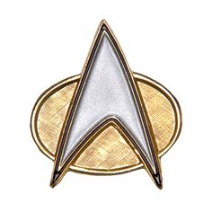 - Textured Gold Finish - Sandblasted Silver Delta - All-metal Construction This pin is based on the design of the Star Trek: The Next Generation Combadge. It features a textured Gold finish with a dur