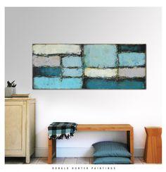 Acrylic Painting, Canvas Wall art, BLUE BLOCKED BLUE, On canvas, Original, Landscape, Abstract Painting, Modern Art, Walldecor Ronald Hunter door RonaldHunter op Etsy https://www.etsy.com/nl/listing/224227671/acrylic-painting-canvas-wall-art-blue