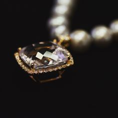 Rose amethyst, diamond and pearl necklace