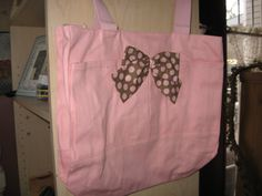 Check out this item in my Etsy shop https://www.etsy.com/listing/179145365/pink-tote-bag-wbrown-polkadot-bow-and