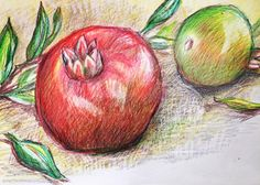 Bristol Board, Pomegranate, Colored Pencils, Original Art, My Etsy Shop, Apple, Drawings, Green, Instagram Posts
