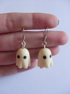 Polymer clay ghost earrings