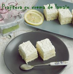 Prajitura cu crema de lamiae Cake with lemon cream Sweets Recipes, Cooking Recipes, Lemon Cream, Sweet Desserts, Camembert Cheese, Cake Decorating, Recipies, Dairy, Food
