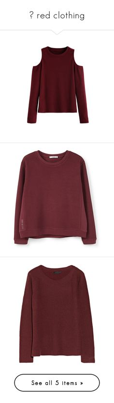 """❁ red clothing"" by mimimouse30 ❤ liked on Polyvore featuring tops, t-shirts, burgundy, stretch t shirt, long sleeve tees, cold shoulder tee, long sleeve t shirts, red long sleeve t shirt, hoodies and sweatshirts"
