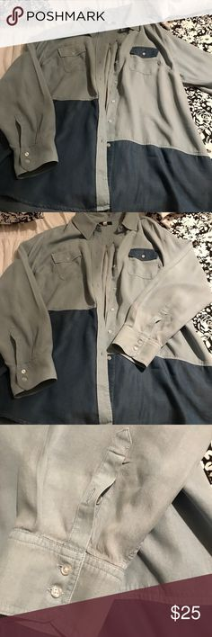 Oversized Shirt Beautiful oversized shirt, light blue and dark blue. Perfect for skinny jeans, and boots. Lane Bryant Tops